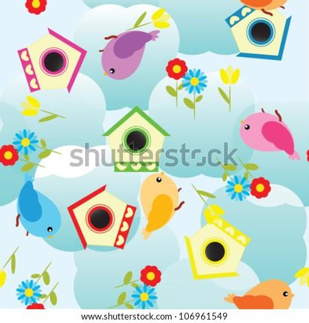 spring cute birds seamless background - stock vector