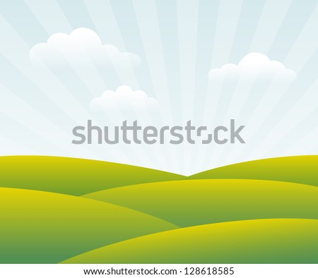 Spring Day. Green fields in sun rays. Vector, eps10.