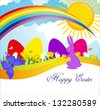 spring day meadow Easter Sunday in the meadow flowers grow among them Easter eggs and leaping hare - stock vector