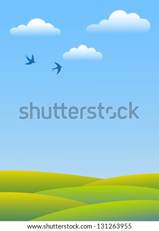 Spring day. Swallows fly in clouds over green fields. Vector background. - stock vector