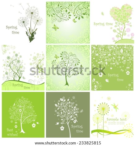Spring decorative cards - stock vector
