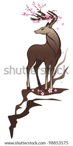 spring deer with flowers among horns - stock vector