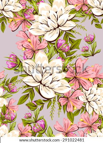 Spring delight collection. Beautiful wallpaper seamless vintage flower pattern. Easy to edit. Using mask.