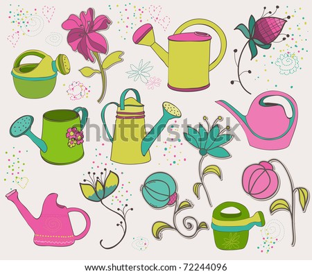 Spring design elements with watering can - stock vector