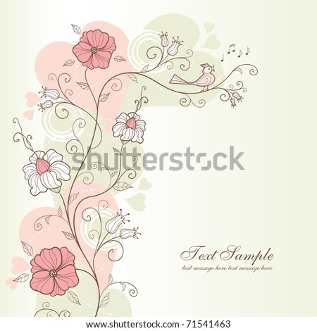 spring design with flowers and a singing bird, vector