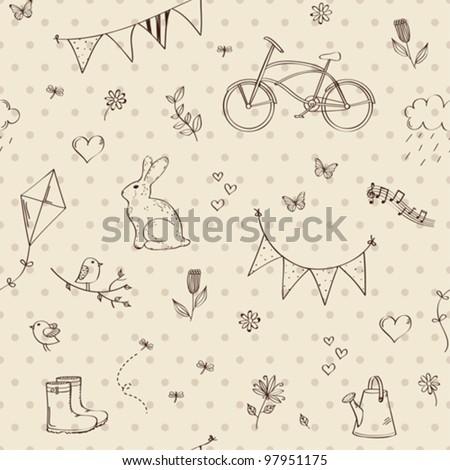 Spring doodles seamless - stock vector