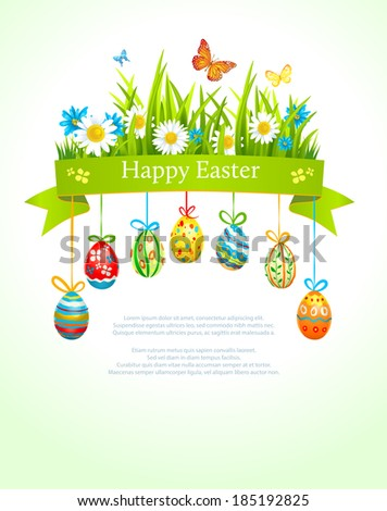Spring easter background with eggs. Place for text. Vector illustration. - stock vector
