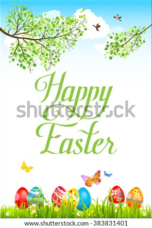 Spring easter card with eggs on a grass. Festive spring background  for design card, banner,ticket, leaflet and so on. Place for text. - stock vector