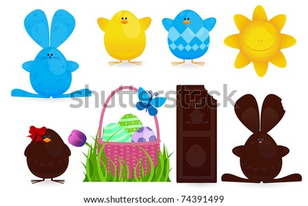 Spring Easter Character Design Element Collection - stock vector