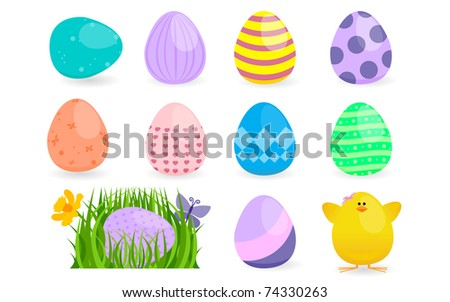 Spring Easter Egg Hunt Design Element Collection - stock vector