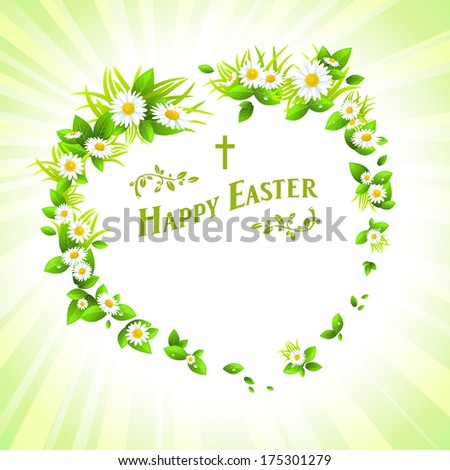 Spring easter floral background. Vector holiday illustration.   - stock vector