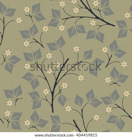 Spring endless pattern with leaves and flowers on green background can be used for surface textures, textile, linen, tile, kids cloth, pattern fills and more creative designs.