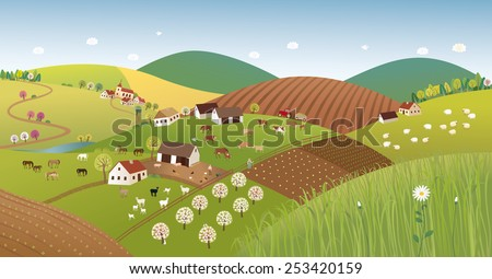 Spring farmer landscape - stock vector