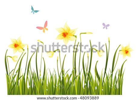 Spring field - stock vector