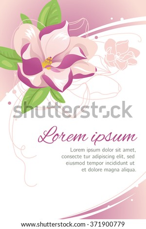 Spring floral background. Magnolia blossom card. Elegant background for card, invitation, flyer.
