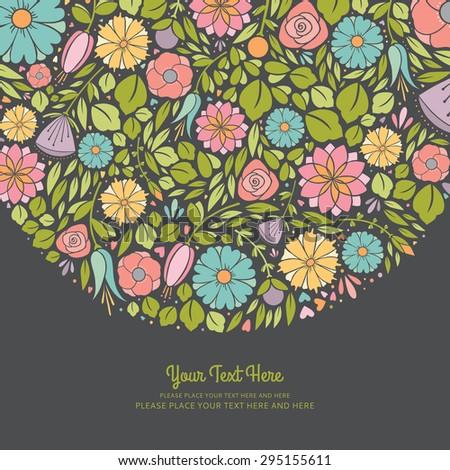 Spring Floral Invitation - stock vector