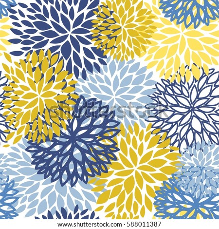Spring Floral Seamless Pattern Blue Yellow And Navy Chrysanthemum Flowers Background For Web