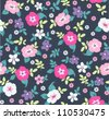 spring floral seamless pattern on navy background - stock photo