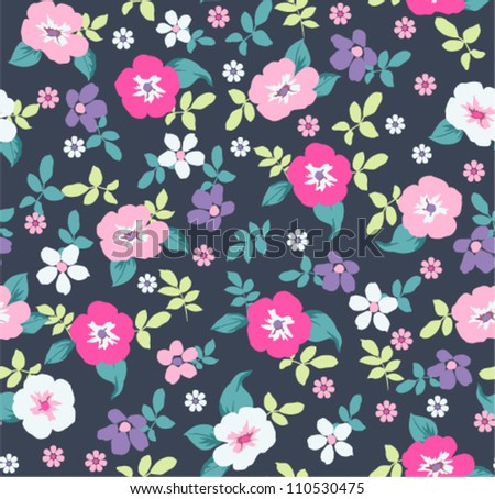 spring floral seamless pattern on navy background - stock vector