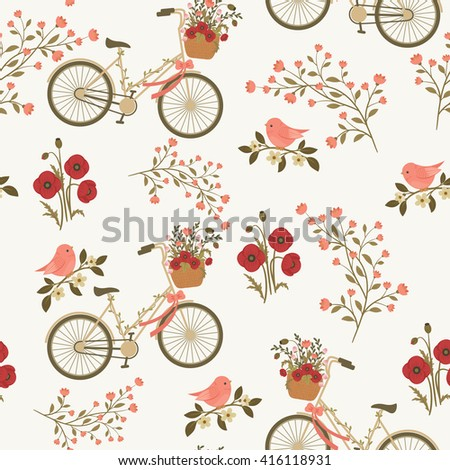 Spring floral seamless pattern with floral bicycle and bird on a branch. Vector seamless wallpaper.