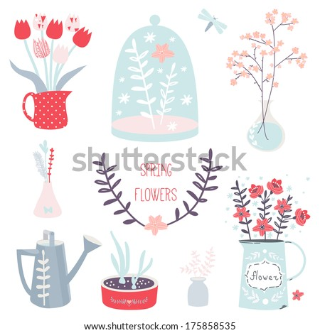Spring flower collection - stock vector