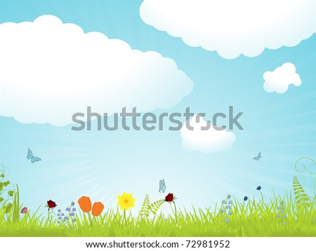 Spring flower landscape with fluffy clouds