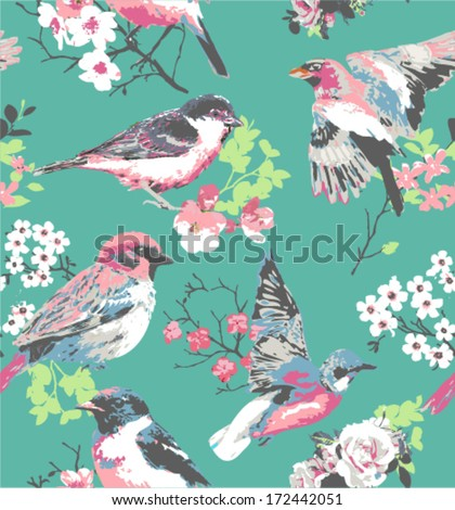 spring flower with bird seamless pattern pink background - stock vector