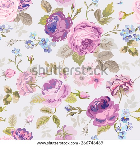 Spring Flowers Background - Seamless Floral Shabby Chic Pattern - in vector - stock vector