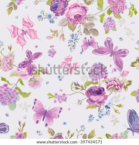 Spring Flowers Background with Butterflies- Seamless Floral Shabby Chic Pattern - in vector - stock vector