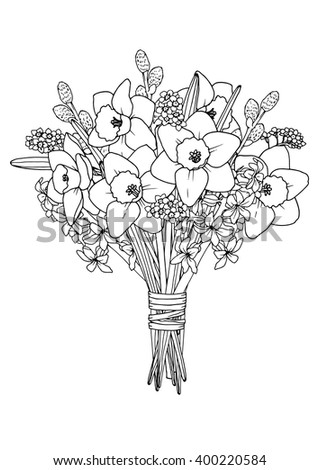 Spring Flowers Bouquet Coloring Book Page Daffodil Hyacinth Willow Forget Me