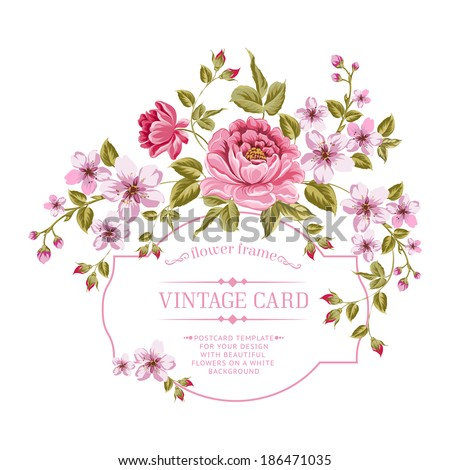 Spring flowers bouquet for vintage card. Vector illustration. - stock vector