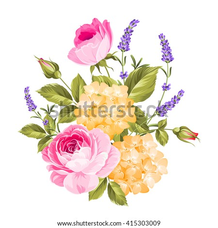 Spring flowers bouquet of color bud garland. Label with rose flowers. Vector illustration.