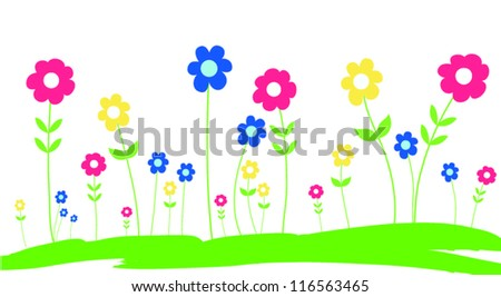 Spring Flowers in the grass - vector - stock vector