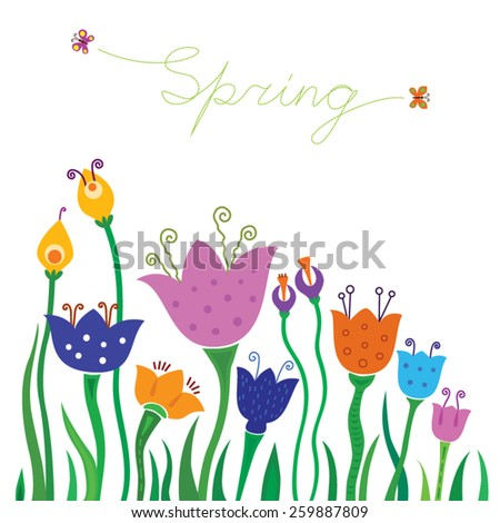 Spring flowers on a white background, flying butterflies, the word spring - stock vector