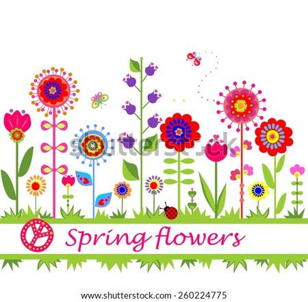 Spring flowers. Seamless border - stock vector