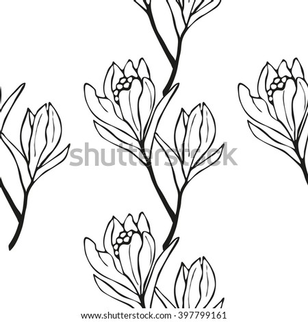 Spring flowers seamless pattern sketch style stock vector 397799161 spring flowers seamless pattern sketch style outline flowers vector illustration mightylinksfo