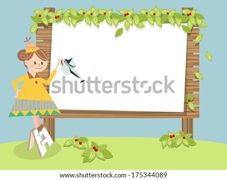 Spring frame A / Illustration for Spring season. A lovely girl watering flowers and the wooden board on the green field.