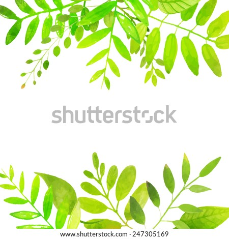 Spring frame with bright green leaves. Vector watercolor illustration. Backdrop for seasonal sales, promo, announcements, etc. - stock vector