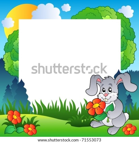 Spring frame with bunny and flowers - vector illustration.
