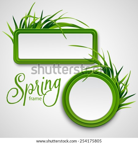 Spring frame with grass. Vector illustration - stock vector