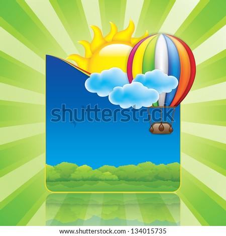 Spring frame with hot air balloon and sun - stock vector