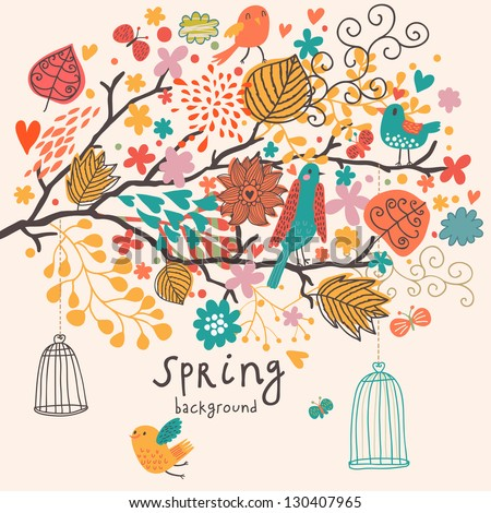 Spring freedom concept in vector. Birds out of cages on the tree - stock vector