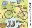 Spring garden background - stock vector