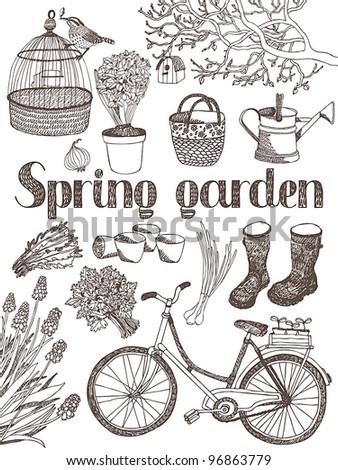 Spring garden card - stock vector