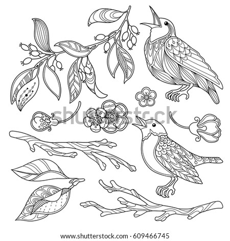 Mis tery 39 s portfolio on shutterstock for Spring garden coloring pages