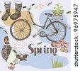 Spring garden seamless pattern - stock vector