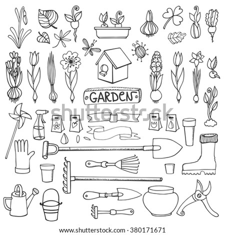 Big Set Handdrawn Pen Sketch Garden Stock Vector 368166887