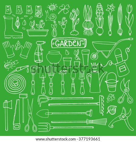 Spring Garden Sethand Drawn Vector Sketch Stock Vector 371448865