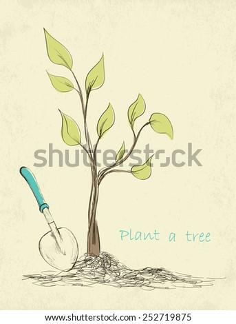 Spring gardening time card. Hand drawn tree planting. Vector illustration - stock vector