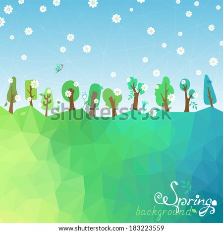 Spring geometric background. Trees, leaves, and flowers for your design. There are place for your text in the sky and on the Earth. - stock vector